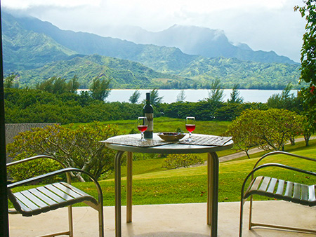 View of Hanalei Bay from Lanai of 4105