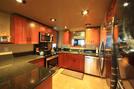 Jatoba Wood Cabinets, Granite & Stainless Appliances