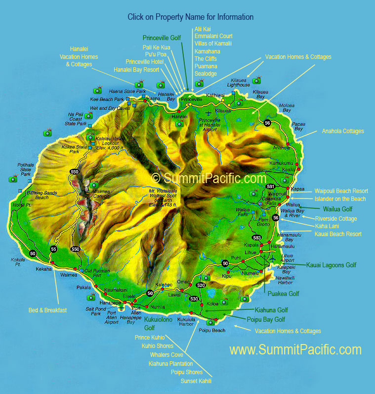 Kauai Map showing points of interest and the location of Kauai vacation rentals. Kauai Map, Kauai Map, Kauai Map.
